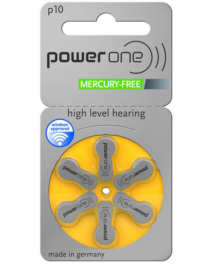 Plaquette de 6 piles Power One P10 (jaune) 0% mercure