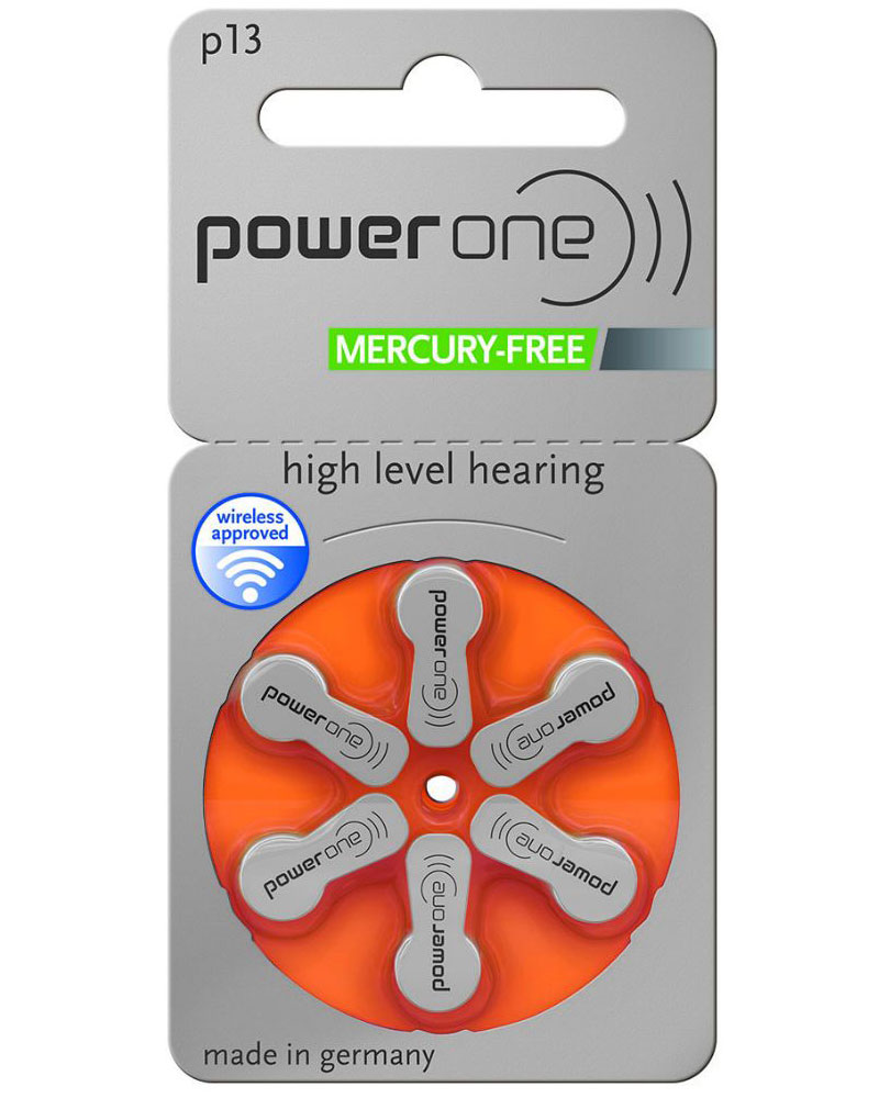 Plaquette de 6 piles Power One P13 (orange) 0% mercure