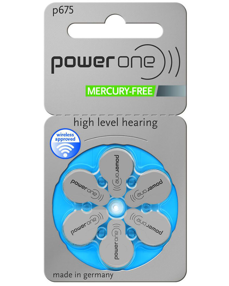 Plaquette de 6 piles Power One P675 (bleu) 0% mercure